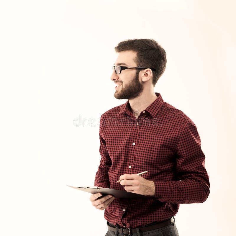 De beheerder documenteert een witte achtergrond stock foto's