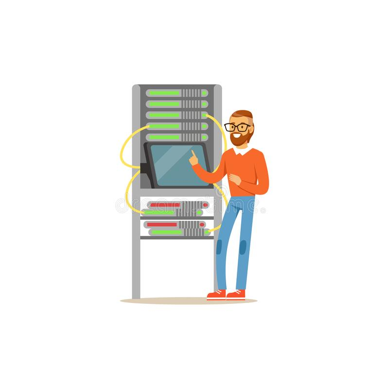De beheerder van de netwerkingenieur het werken in gegevens centreert het gebruiken van tablet met serverrek wordt verbonden, de  vector illustratie