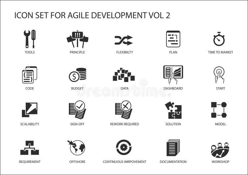 De behendige reeks van het software-ontwikkelingpictogram royalty-vrije illustratie