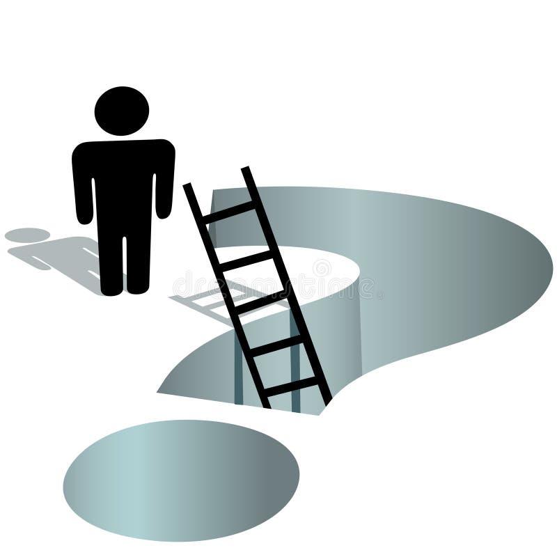 De behoeften van de persoon helpen om diep vraagtekengat te vragen vector illustratie