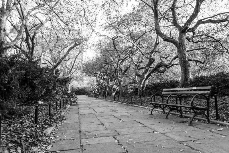 De behoudende tuin is de enige formele tuin in Central Park stock fotografie