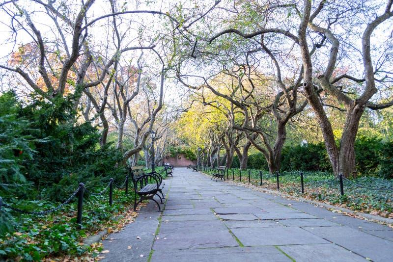 De behoudende tuin is de enige formele tuin in Central Park stock afbeeldingen