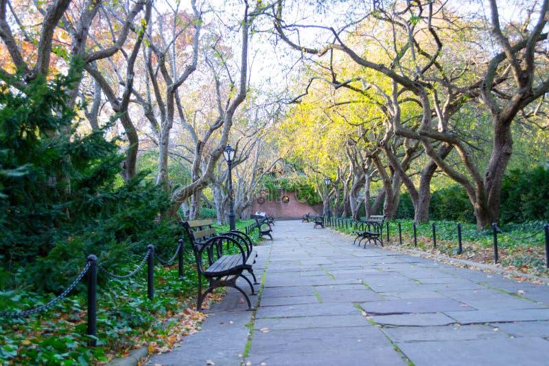 De behoudende tuin is de enige formele tuin in Central Park stock foto's