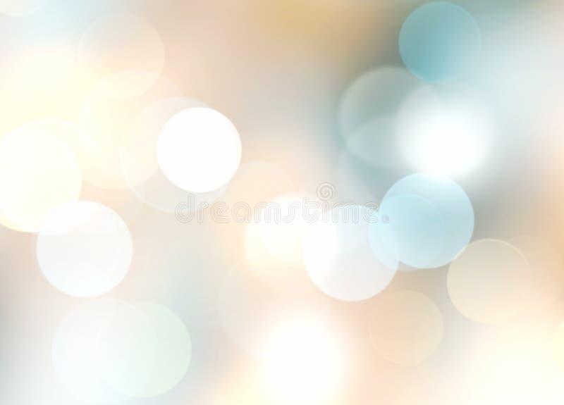 De beige blauwe vakantie vage achtergrond van de lichtenwinter stock illustratie