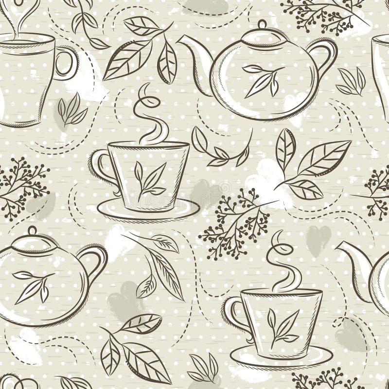 De beige naadloze patronen met theestel, kop, theepot, doorbladert, bloem en tekst Achtergrond met theestel Ideaal voor druk op s vector illustratie