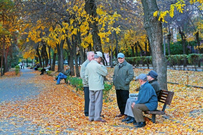 De bejaarde gepensioneerden die in de herfst lopen parkeren in Volgograd royalty-vrije stock afbeeldingen