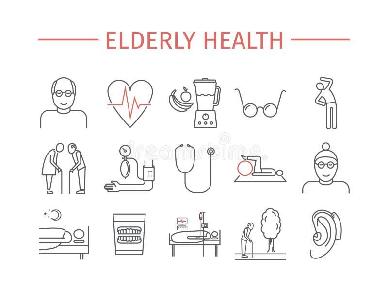 De bejaarde geplaatste pictogrammen van de gezondheidslijn Het vectorontwerp van het pensioneringsbeeldverhaal Abstracte kaart en royalty-vrije illustratie
