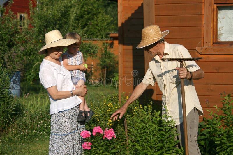 De bejaarden koppelen aan jong geitje in tuin royalty-vrije stock foto's