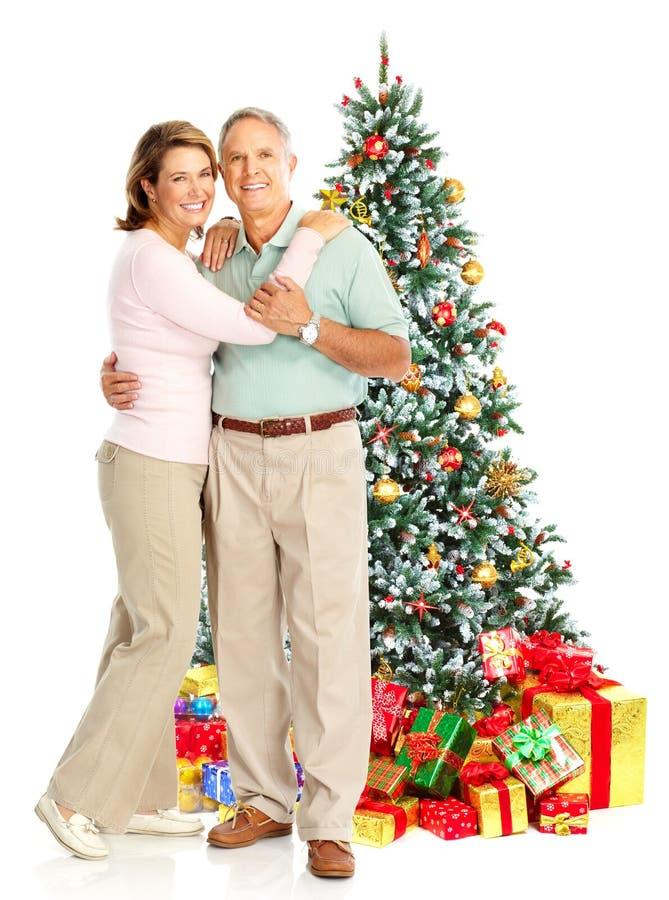 De bejaarden van Kerstmis koppelen stock afbeeldingen