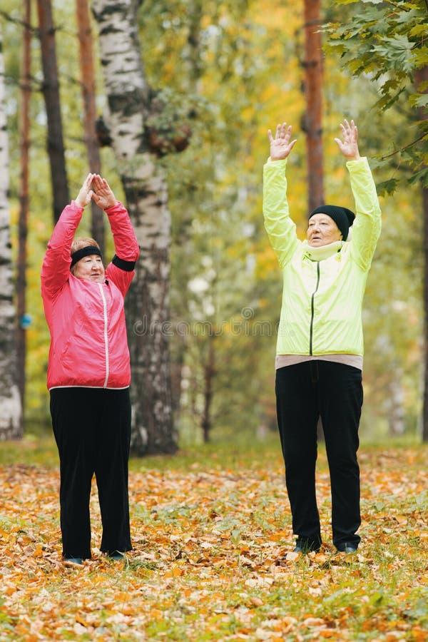 De bejaarden voeren een opwarming uit en heffen omhoog hun handen in het de herfstpark na op een noordse gang royalty-vrije stock foto's