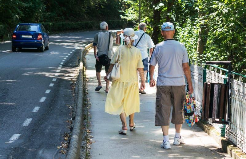 De bejaarden zijn op een steeg in een bergtoevlucht op een mooie de zomerdag Een mooie decoratie met een bergrivier en velen royalty-vrije stock foto
