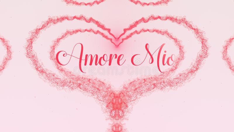 De bekentenis van Amoremio love De Daghart van Valentine van roze die plons wordt op lichtrose achtergrond wordt ge?soleerd gemaa royalty-vrije stock foto