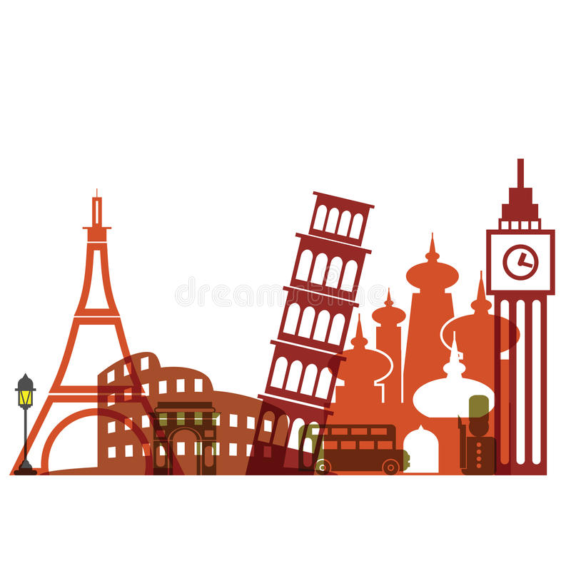 De bekleding van het reisoriëntatiepunt vector illustratie