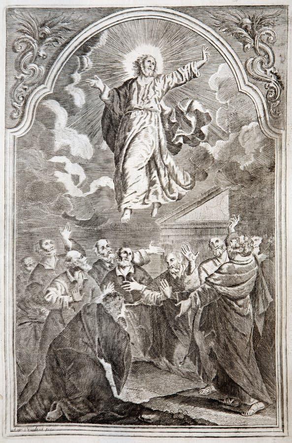 De beklimming van Jesus. Het af:drukken van de lithografie in romanum Missale vector illustratie