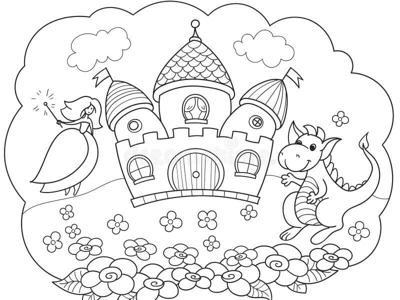 De bel is een droom Het verhaal van de prinses, de draak en het kasteel Een sprookje van kinderen Vectorverhalenboek stock illustratie