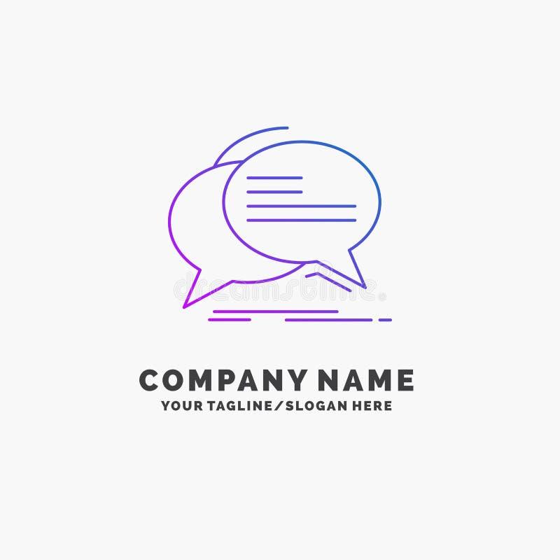 De bel, praatje, mededeling, toespraak, spreekt Purpere Zaken Logo Template Plaats voor Tagline royalty-vrije illustratie