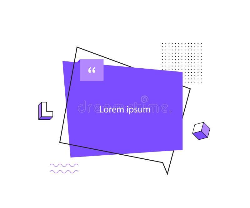 De bel van de citaattekst Komma's, nota, bericht en commentaar Universele tendens halftone geometrische vormen vector illustratie