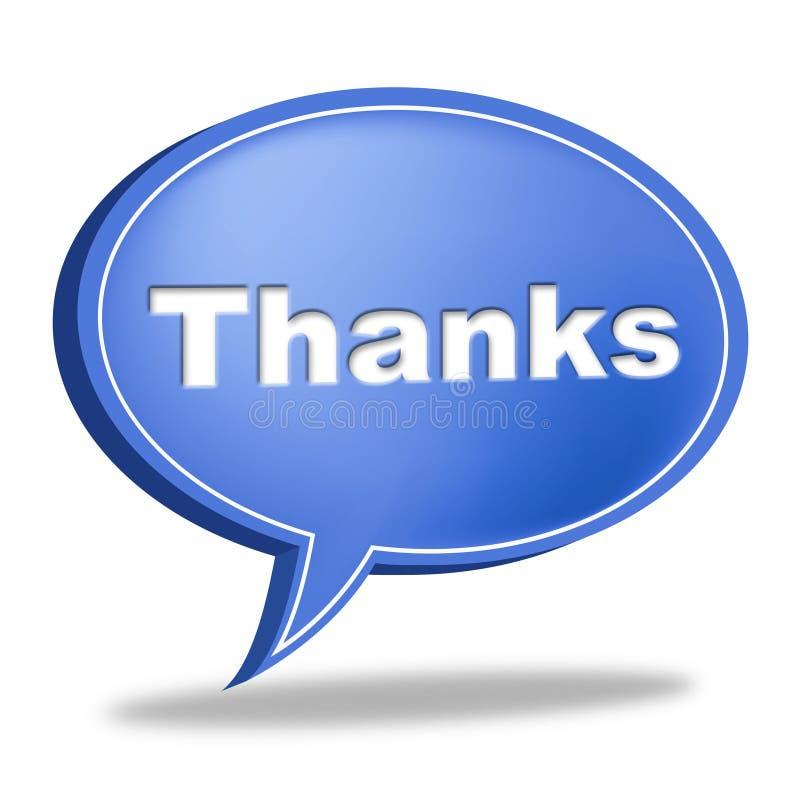 De Bel van de danktoespraak betekent Dankbericht en Dankbaarheid royalty-vrije illustratie