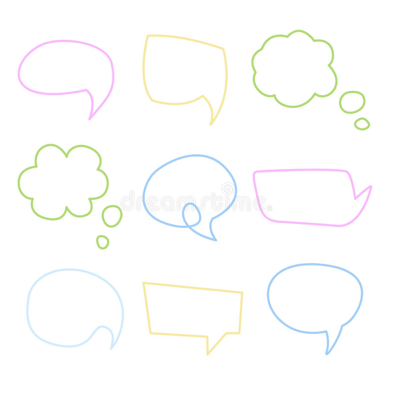 De Bel van de toespraak Handdrawn Vectorreeks vector illustratie
