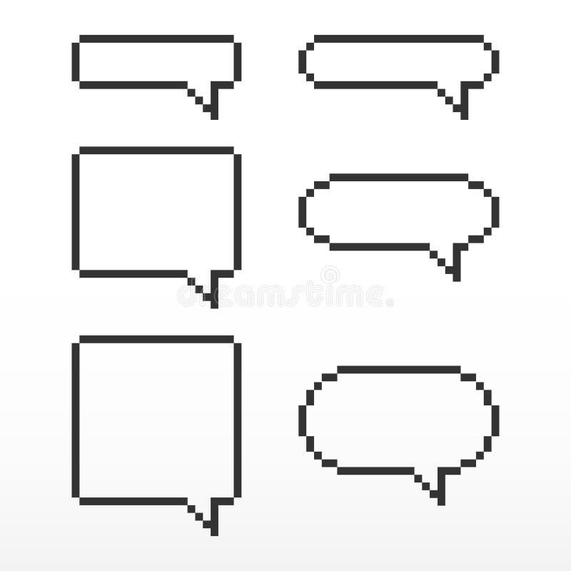 De bel van de pixeltoespraak, met plaats voor tekstvakjes vector illustratie