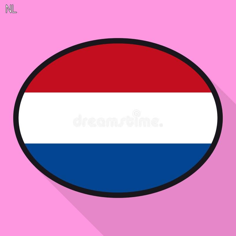 De bel van de de vlagtoespraak van Nederland, sociaal media communicatie teken, stock illustratie