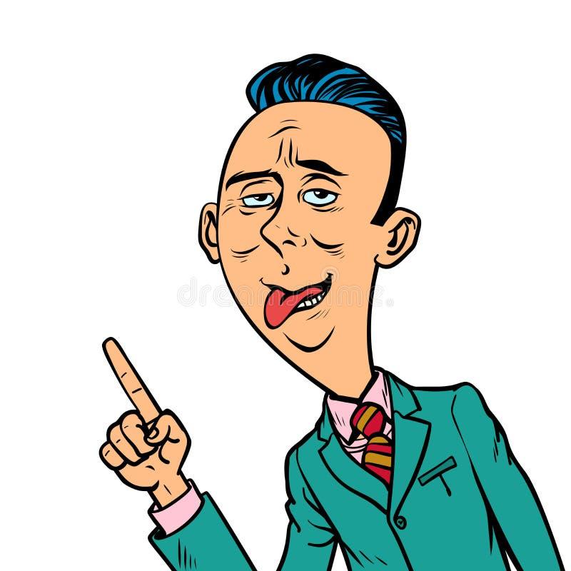 De belachelijke grappige bizarre zakenman richt vingergebaar stock illustratie