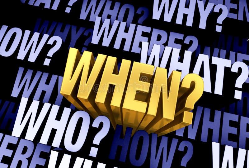 De Belangrijke Vraag is 'wanneer?' stock illustratie