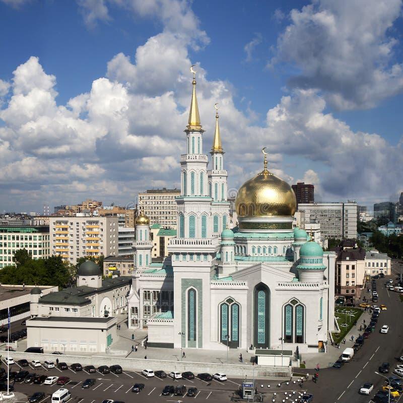 De belangrijkste moskee van Moskou, één van de grootste en hoogste moskee royalty-vrije stock foto's