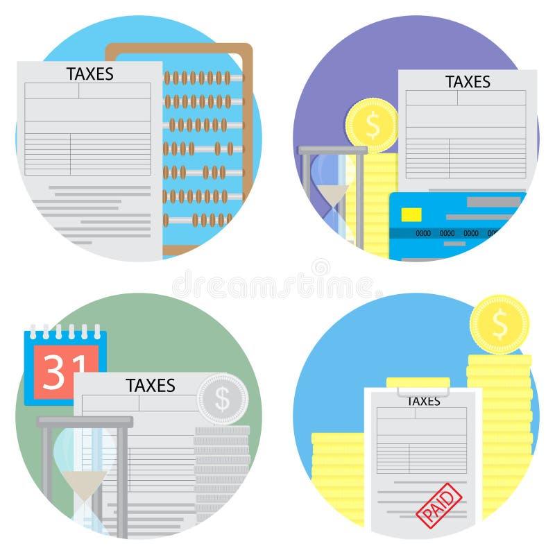 De belastingentelling en betaalt een reeks pictogrammen stock illustratie