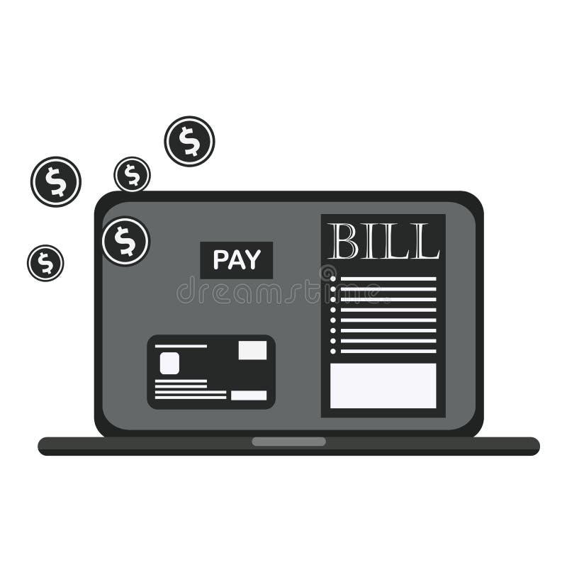 De belastings online ontvangstbewijs van loonsrekeningen via computer of laptop stock illustratie