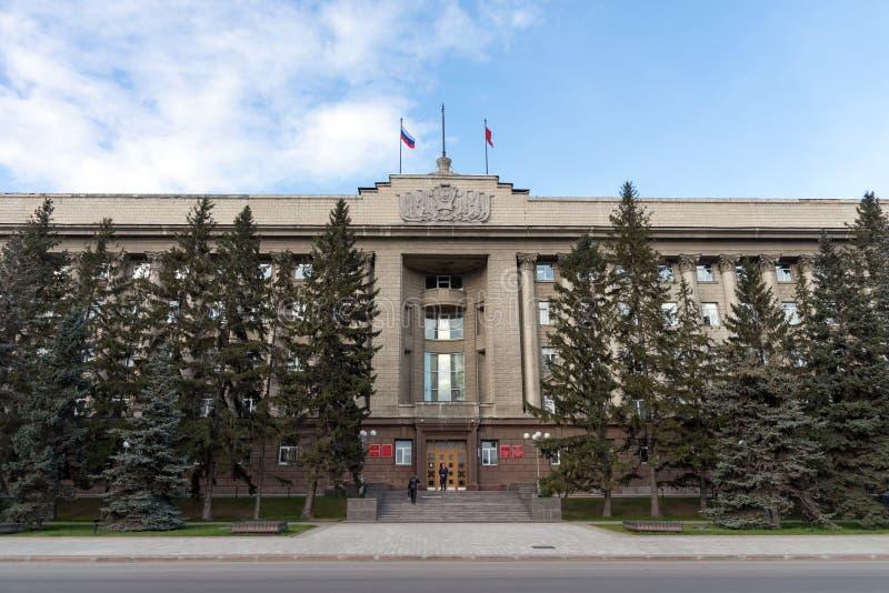 De beleid bouw van het Krasnoyarsk-Grondgebied, de vroegere bouw van het Huis van Sovjets stock foto's