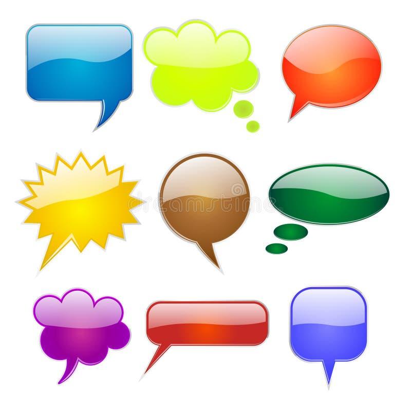 De bellen van de toespraak in diverse vormen en kleuren stock illustratie