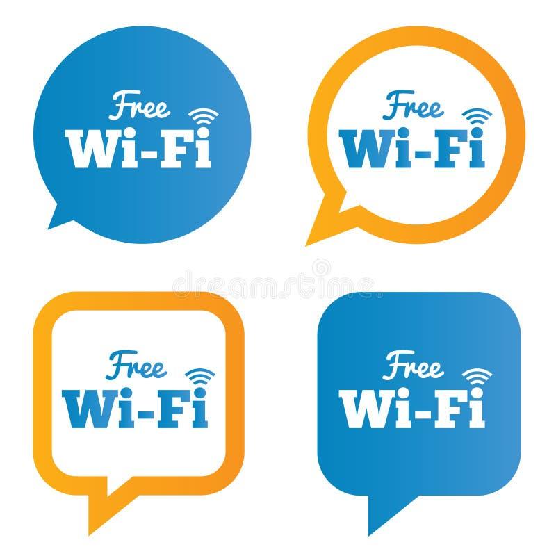 De bellen van de Wifitoespraak. Vrije wifisymbolen. Draadloos. vector illustratie