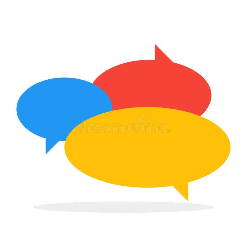De bellen van de de kleurentoespraak van het praatjepictogram in gesprek Vector illustratie stock illustratie