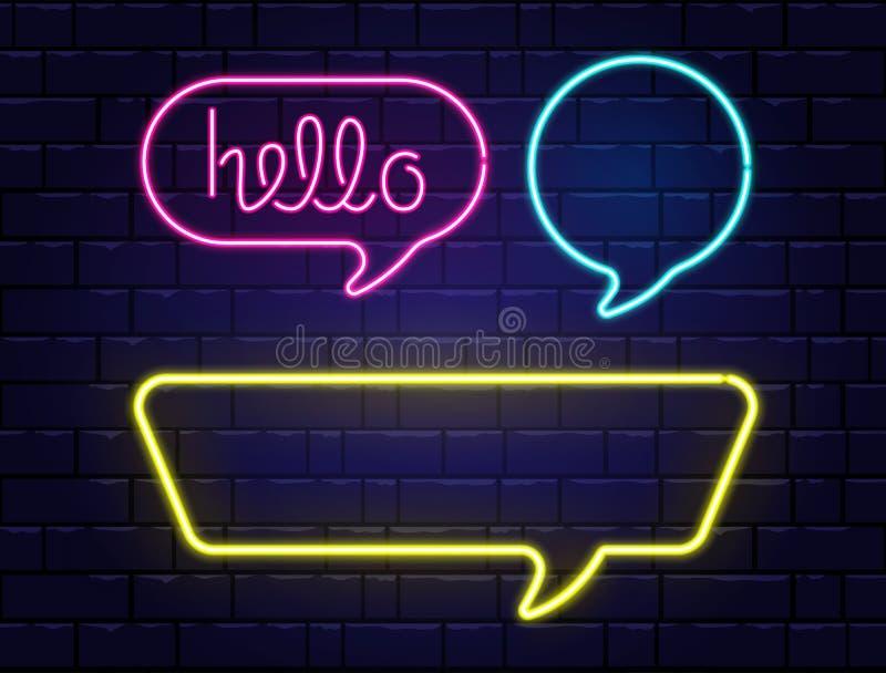 De bellen van de neontoespraak met ruimte voor tekst worden geplaatst die Hello-neon het van letters voorzien De realistische die stock illustratie