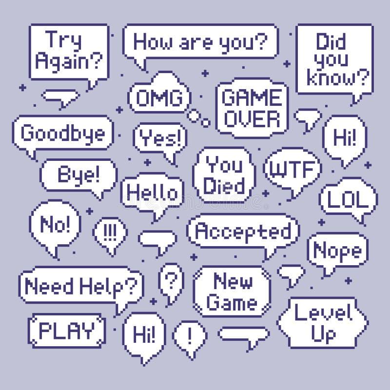 De Bellen van de pixeltoespraak De ballon van de videospelletjebespreking, retro toespraakbel en de computerspelen met 8 bits spr royalty-vrije illustratie