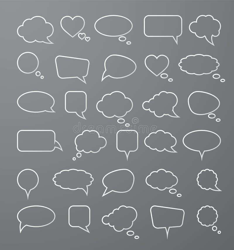 De bellen van de Witboektoespraak op grijze achtergrond Vector illustratie stock illustratie