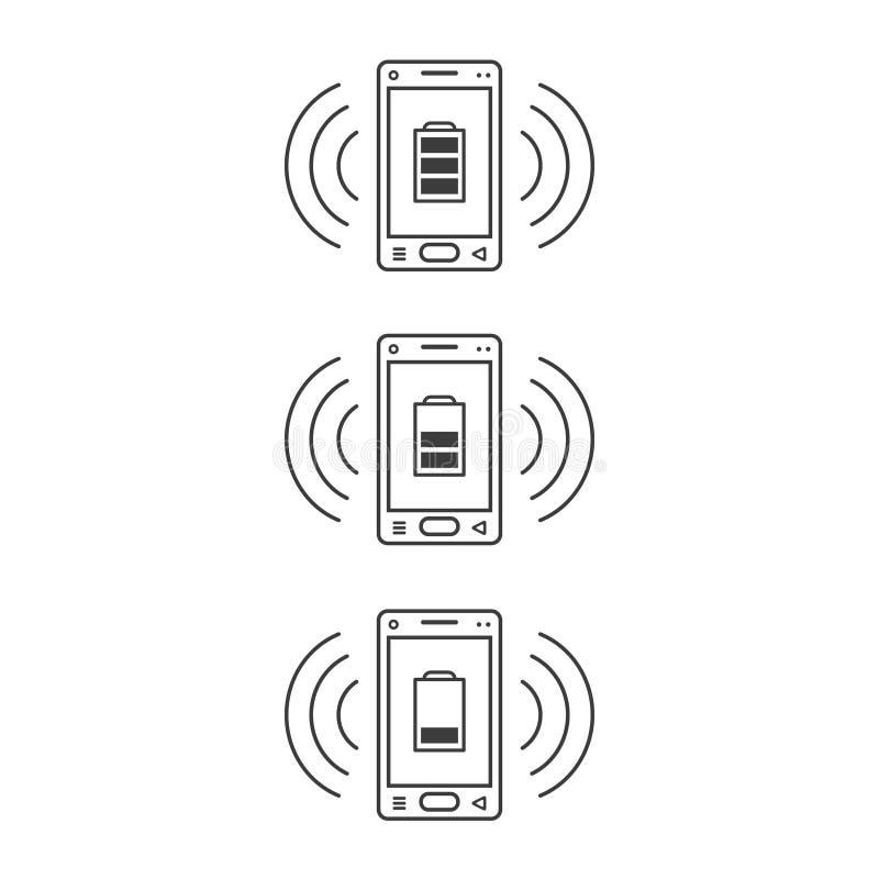 De bellende pictogrammen van de lijnkunst van smartphones met verschillende niveaus van het laden en signaalgolven vector illustratie