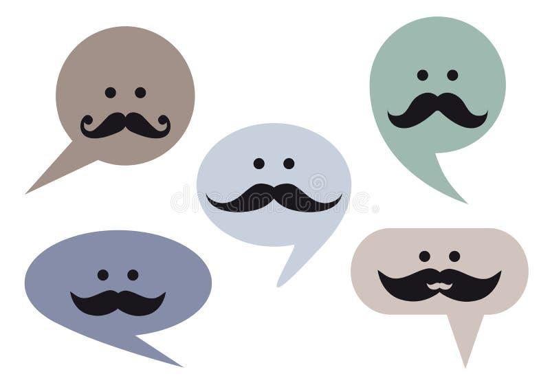 De bellengezichten van de toespraak met snor, vector royalty-vrije illustratie