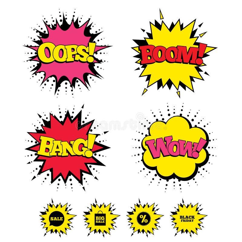 De bellenpictogram van de verkooptoespraak Het symbool van de kortingsster stock illustratie