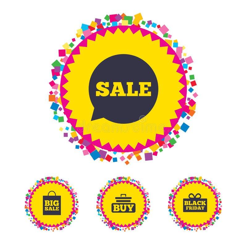 De bellenpictogrammen van de verkooptoespraak Koop karsymbool vector illustratie