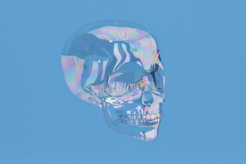 De bellenschedel op blauwe achtergrond omvat weg 3D Illustratie vector illustratie