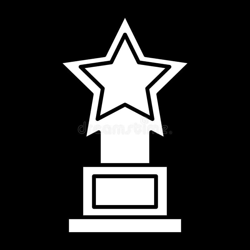De beloning, beeldje, speelt stevig pictogram mee Vectordieillustratie op zwarte wordt ge?soleerd glyph stijlontwerp, voor Web da royalty-vrije illustratie