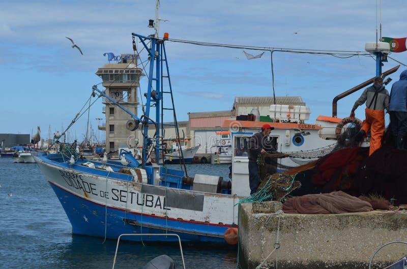De bemanning van beursseiner verzamelt zijn netten in Olhao-visserijhaven, Algarve, Zuidelijk Portugal royalty-vrije stock afbeelding