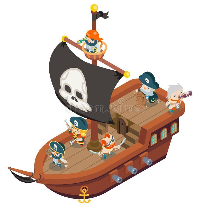 De de bemanningszeerover van het piraatschip obstructie voert zeerover van overzeese van de de kapiteinsfantasie RPG hondzeeliede stock illustratie