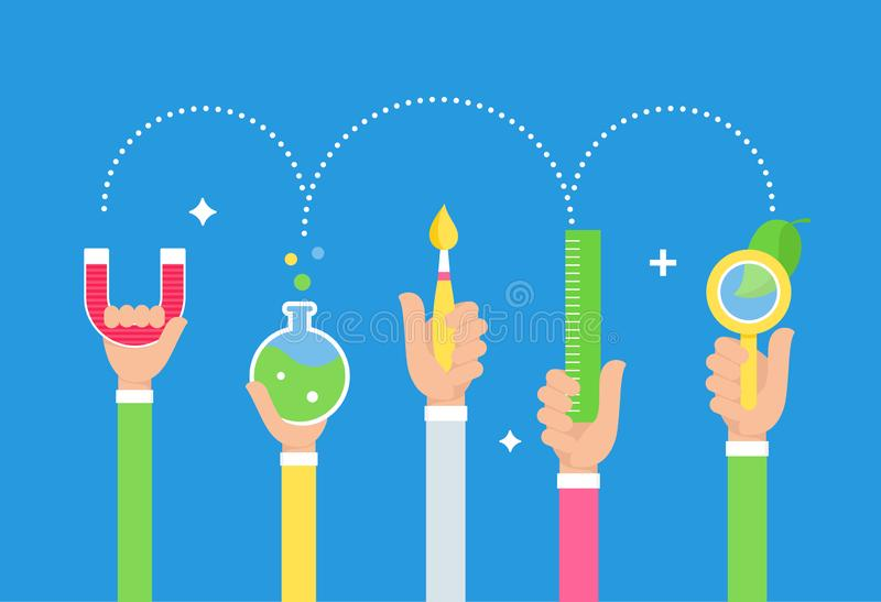 De Benadering van het stoomonderwijs Kunsten en Wetenschap De Hulpmiddelen van de studentenholding in Handen Vector ontwerp royalty-vrije illustratie