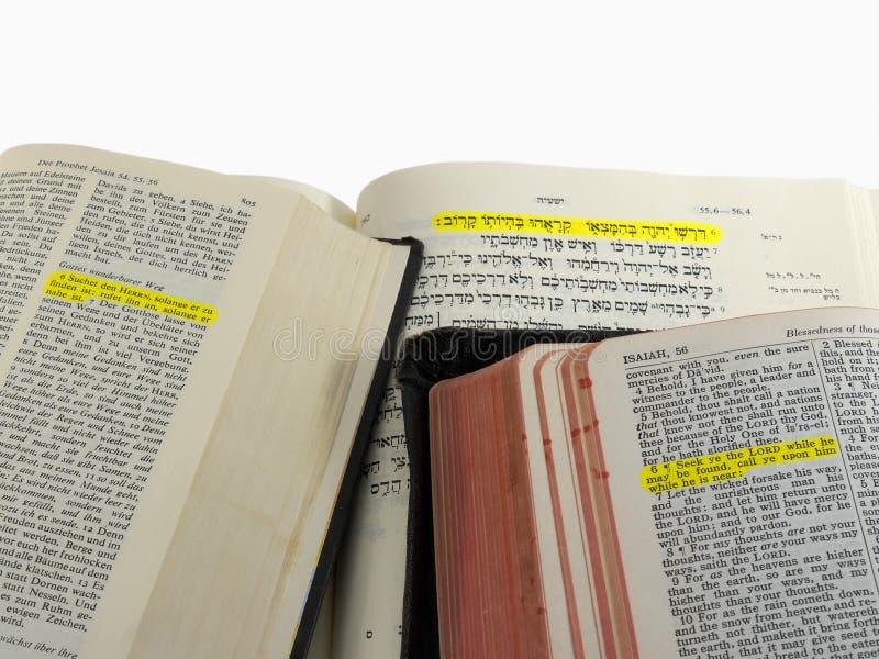 De benadrukte passage van de Bijbel stock foto