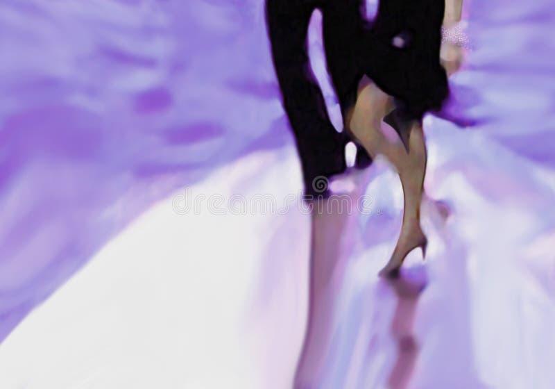 De benen van het danspaar in schijnwerper stock illustratie