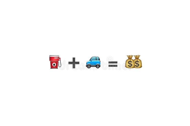 De benzinebrandstof plus autovoertuig evenaart het grafische middel van de geldvergelijking stock foto's