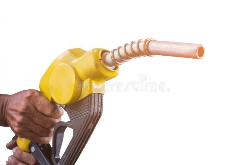 De benzinepomp van de handholding op witte ackground stock foto's